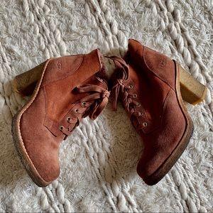 UGG Australia Sofia Heeled Lace Up Boots - Sz 37.5